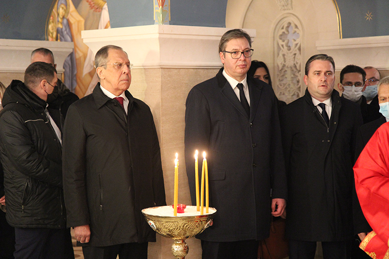 Президент Вучич и министр Лавров в церкви Святого Саввы